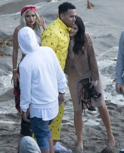 Kylie and Chris on the set of video shoot